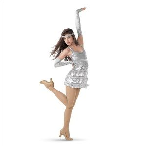 WEISSMAN women's satin sequin fringe dance dress